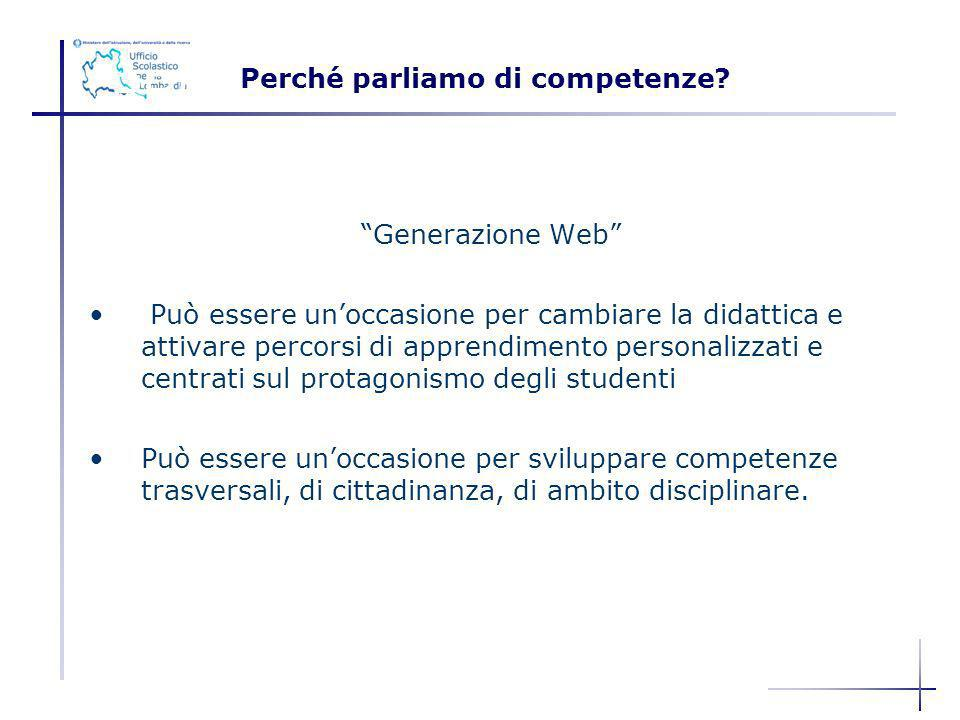 PROGETTARE PECOMPETENZE Generazione Web Può essere unoccasione per cambiare la didattica e attivare percorsi di apprendimento personalizzati e centrat