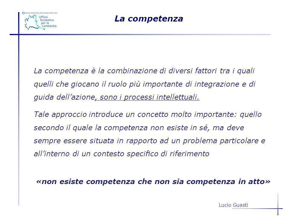 La competenza è la combinazione di diversi fattori tra i quali quelli che giocano il ruolo più importante di integrazione e di guida dellazione, sono