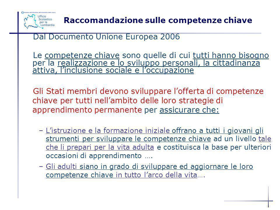 RACCOMANDAZIONE SULLE COMPETENZE CHIAVE Dal Documento Unione Europea 2006 Le competenze chiave sono quelle di cui tutti hanno bisogno per la realizzaz