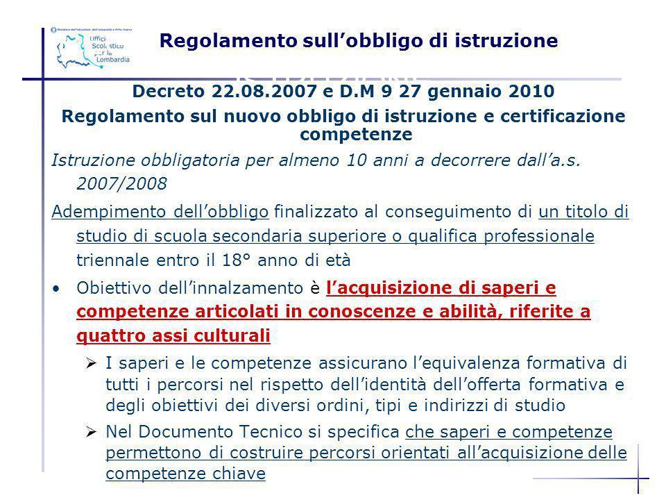 REGOLAMENTO SULLOBBLIGO DI ISTRUZIONE Decreto 22.08.2007 e D.M 9 27 gennaio 2010 Regolamento sul nuovo obbligo di istruzione e certificazione competen