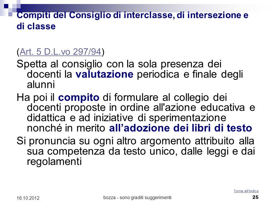 bozza - sono graditi suggerimenti 25 16.10.2012 Compiti del Consiglio di interclasse, di intersezione e di classe (Art. 5 D.L.vo 297/94)Art. 5 D.L.vo