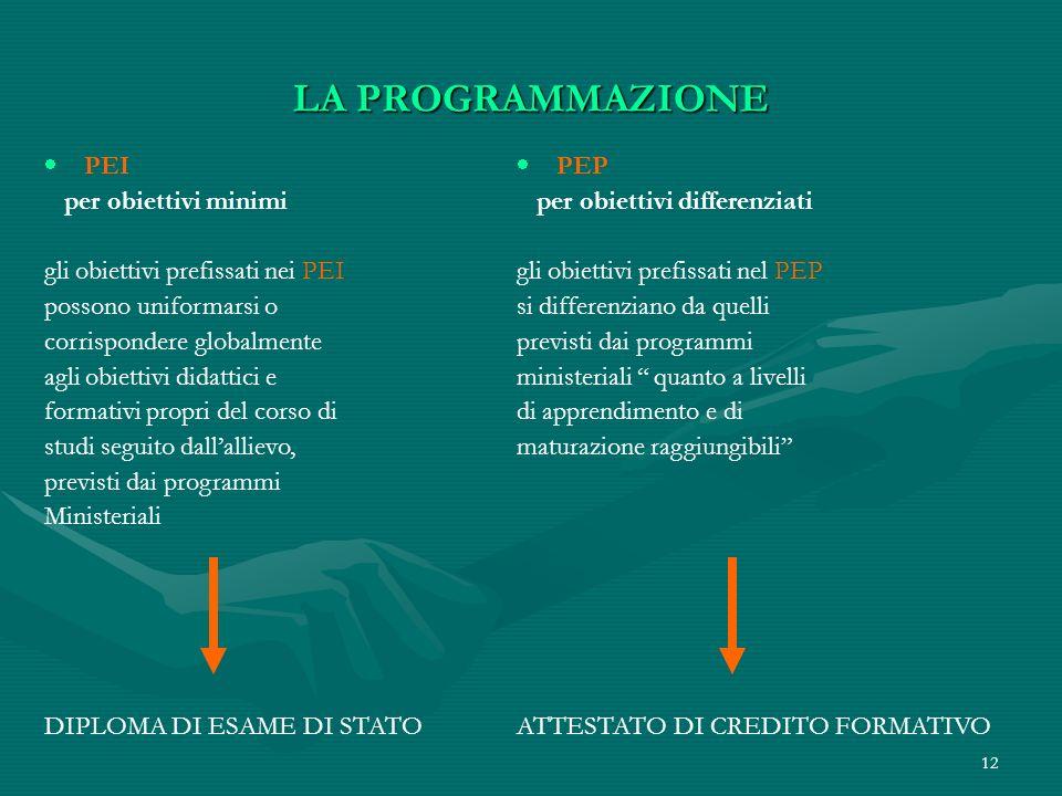 12 LA PROGRAMMAZIONE PEI per obiettivi minimi gli obiettivi prefissati nei PEI possono uniformarsi o corrispondere globalmente agli obiettivi didattic