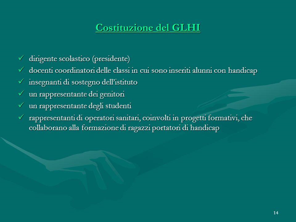 14 Costituzione del GLHI dirigente scolastico (presidente) dirigente scolastico (presidente) docenti coordinatori delle classi in cui sono inseriti al