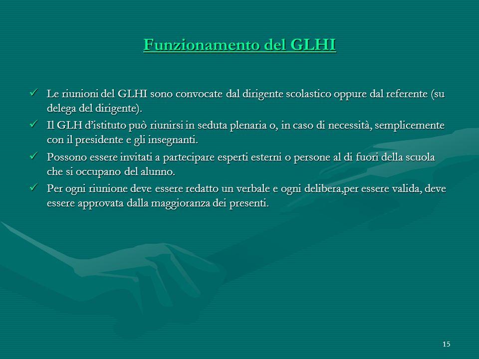15 Funzionamento del GLHI Le riunioni del GLHI sono convocate dal dirigente scolastico oppure dal referente (su delega del dirigente). Le riunioni del