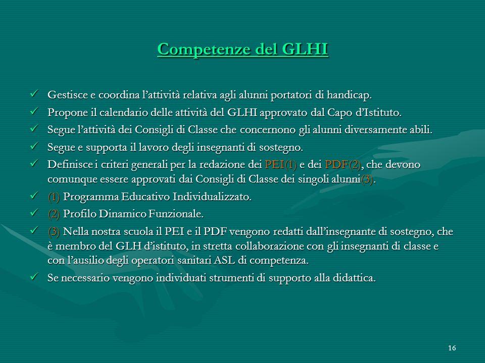 16 Competenze del GLHI Gestisce e coordina lattività relativa agli alunni portatori di handicap. Gestisce e coordina lattività relativa agli alunni po