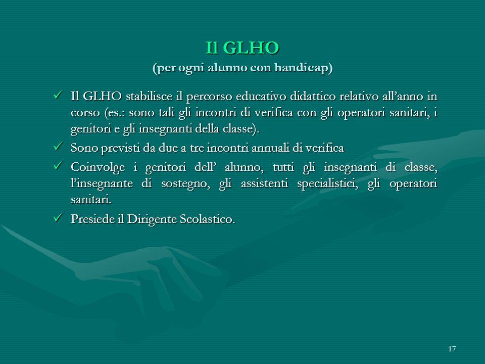 17 Il GLHO (per ogni alunno con handicap) Il GLHO stabilisce il percorso educativo didattico relativo allanno in corso (es.: sono tali gli incontri di verifica con gli operatori sanitari, i genitori e gli insegnanti della classe).