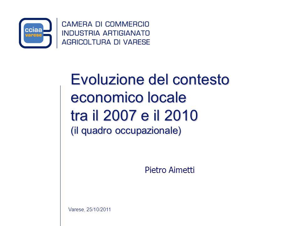 Evoluzione del contesto economico locale tra il 2007 e il 2010 (il quadro occupazionale) Pietro Aimetti Varese, 25/10/2011