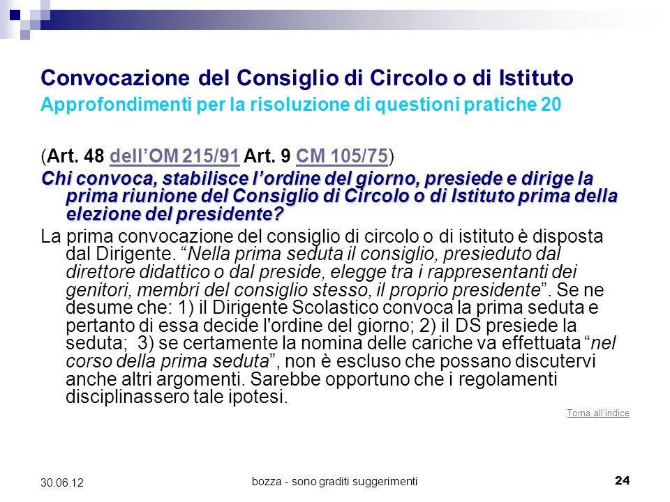 bozza - sono graditi suggerimenti24 30.06.12 Convocazione del Consiglio di Circolo o di Istituto Approfondimenti per la risoluzione di questioni pratiche 20 (Art.