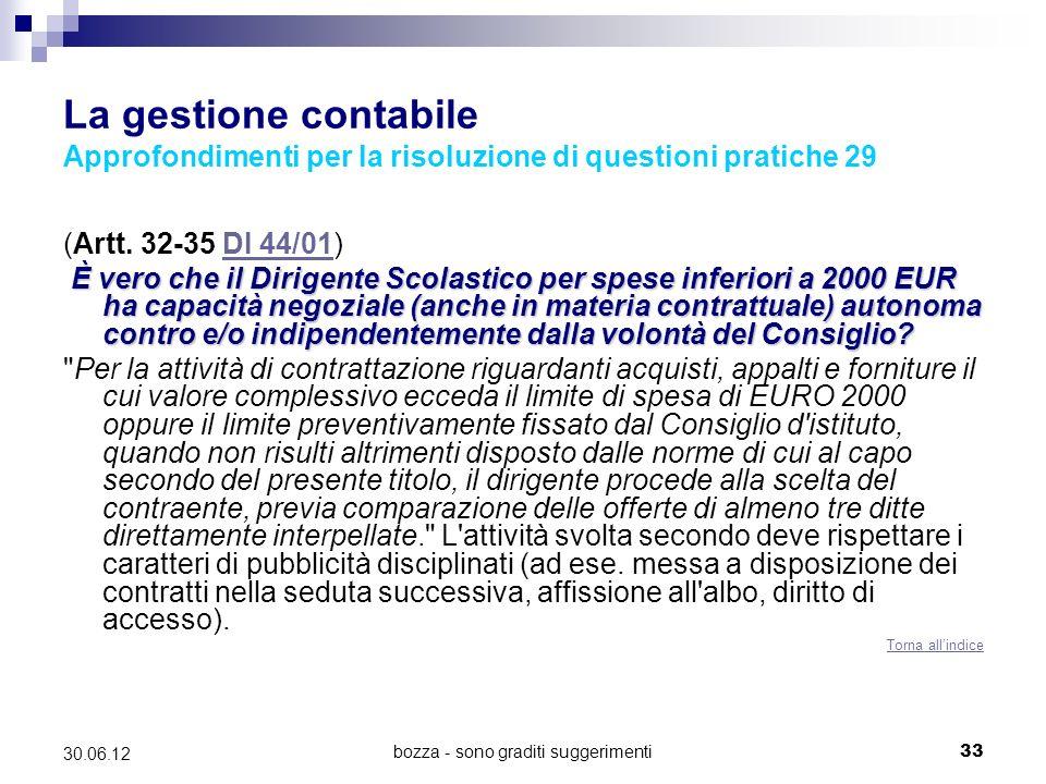 bozza - sono graditi suggerimenti33 30.06.12 La gestione contabile Approfondimenti per la risoluzione di questioni pratiche 29 (Artt.