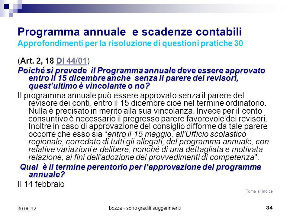 bozza - sono graditi suggerimenti34 30.06.12 Programma annuale e scadenze contabili Approfondimenti per la risoluzione di questioni pratiche 30 (Art.