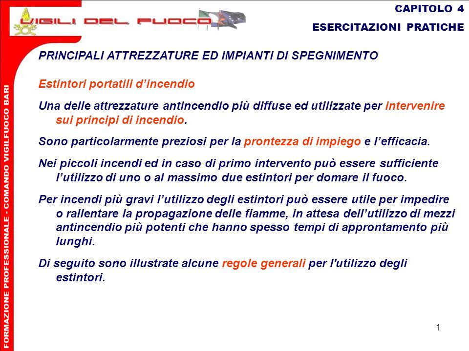 1 CAPITOLO 4 ESERCITAZIONI PRATICHE PRINCIPALI ATTREZZATURE ED IMPIANTI DI SPEGNIMENTO Estintori portatili dincendio Una delle attrezzature antincendi