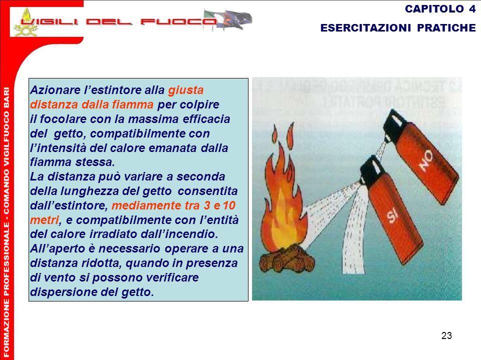 23 CAPITOLO 4 ESERCITAZIONI PRATICHE Azionare lestintore alla giusta distanza dalla fiamma per colpire il focolare con la massima efficacia del getto,