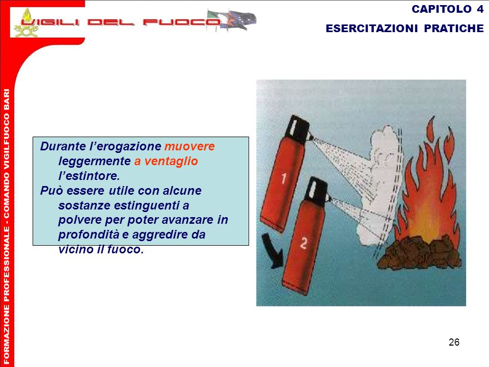 26 CAPITOLO 4 ESERCITAZIONI PRATICHE Durante lerogazione muovere leggermente a ventaglio lestintore. Può essere utilecon alcune sostanze estinguenti a