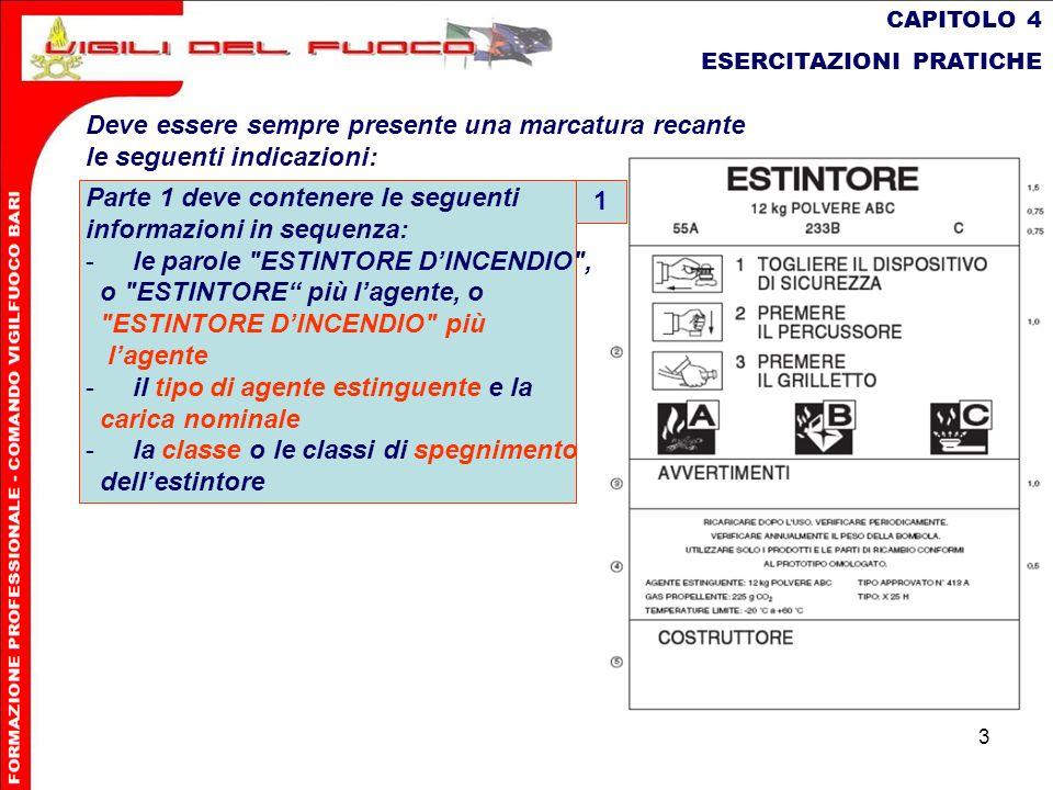 3 CAPITOLO 4 ESERCITAZIONI PRATICHE Deve essere sempre presente una marcatura recante le seguenti indicazioni: Parte 1 deve contenere le seguenti info