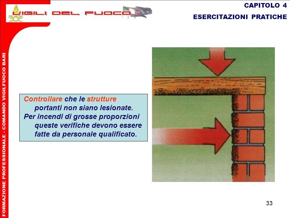 33 CAPITOLO 4 ESERCITAZIONI PRATICHE Controllare che le strutture portanti non siano lesionate. Per incendi di grosse proporzioni queste verifiche dev