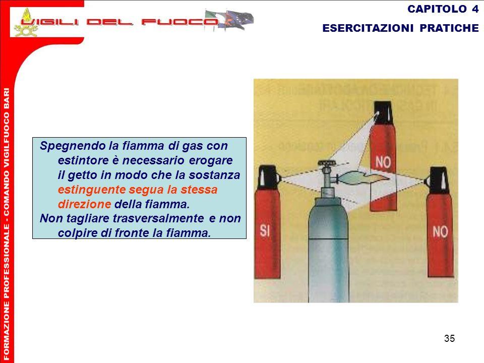35 CAPITOLO 4 ESERCITAZIONI PRATICHE Spegnendo la fiamma di gas con estintore è necessario erogare il getto in modo che la sostanza estinguente segua