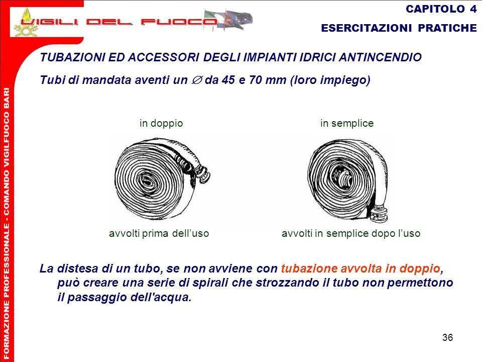 36 CAPITOLO 4 ESERCITAZIONI PRATICHE TUBAZIONI ED ACCESSORI DEGLI IMPIANTI IDRICI ANTINCENDIO Tubi di mandata aventi un da 45 e 70 mm (loro impiego) L