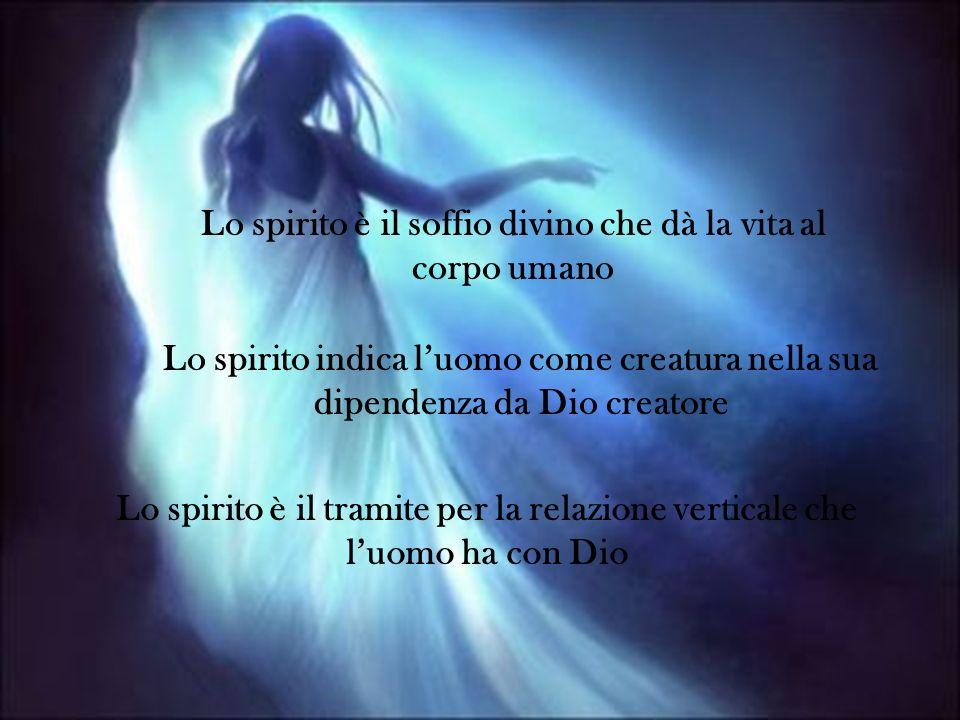 Lo spirito è il tramite per la relazione verticale che luomo ha con Dio Lo spirito indica luomo come creatura nella sua dipendenza da Dio creatore Lo