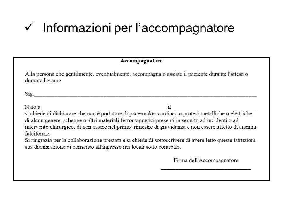Informazioni per laccompagnatore