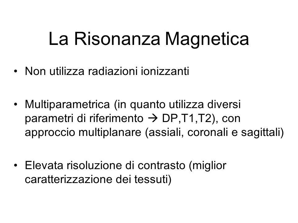 La Risonanza Magnetica Non utilizza radiazioni ionizzanti Multiparametrica (in quanto utilizza diversi parametri di riferimento DP,T1,T2), con approcc