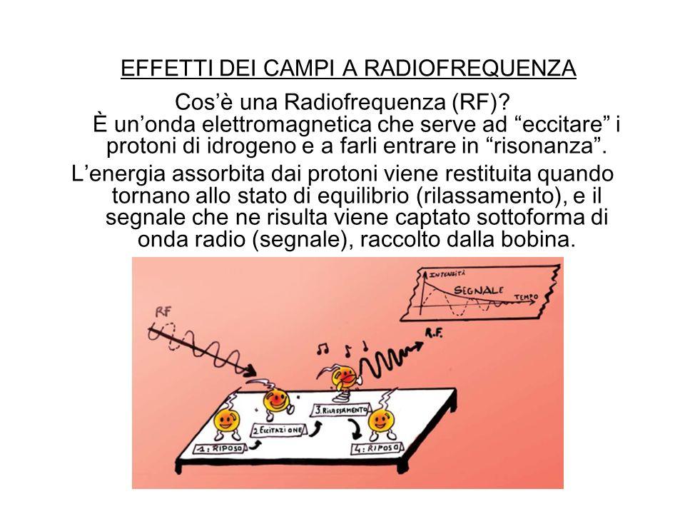EFFETTI DEI CAMPI A RADIOFREQUENZA Cosè una Radiofrequenza (RF)? È unonda elettromagnetica che serve ad eccitare i protoni di idrogeno e a farli entra