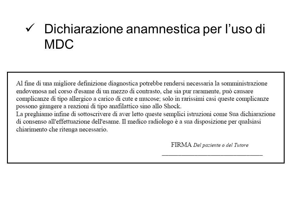 Dichiarazione anamnestica per luso di MDC