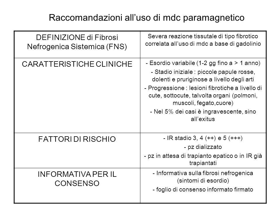 Raccomandazioni alluso di mdc paramagnetico DEFINIZIONE di Fibrosi Nefrogenica Sistemica (FNS) Severa reazione tissutale di tipo fibrotico correlata a