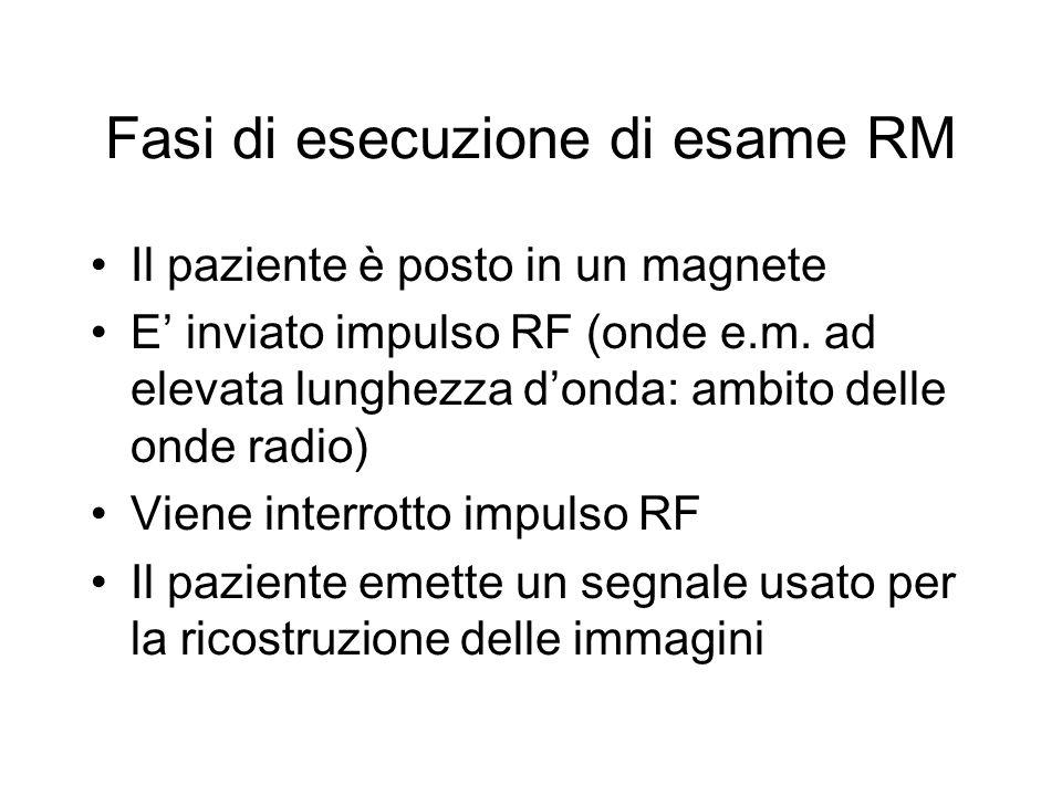 Fasi di esecuzione di esame RM Il paziente è posto in un magnete E inviato impulso RF (onde e.m. ad elevata lunghezza donda: ambito delle onde radio)
