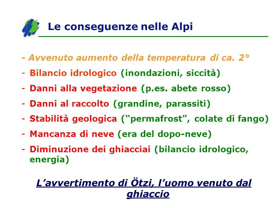 Le conseguenze nelle Alpi - Avvenuto aumento della temperatura di ca. 2° -Bilancio idrologico (inondazioni, siccità) -Danni alla vegetazione (p.es. ab
