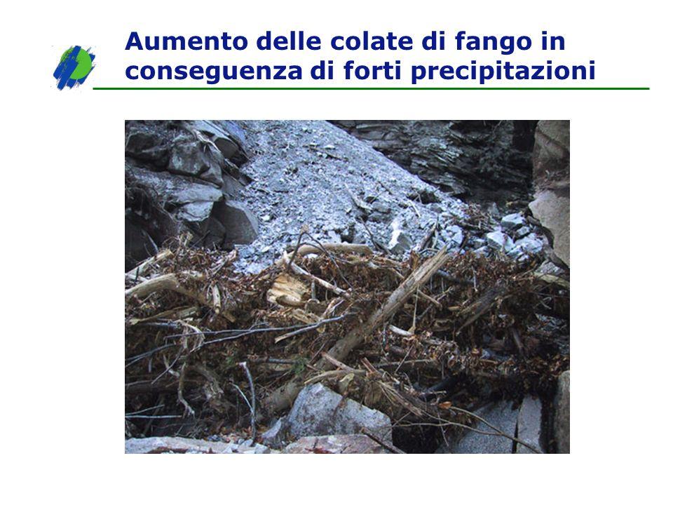 Aumento delle colate di fango in conseguenza di forti precipitazioni