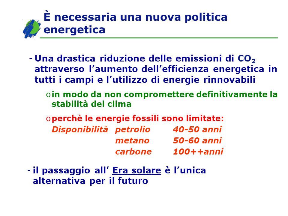 È necessaria una nuova politica energetica -Una drastica riduzione delle emissioni di CO 2 attraverso laumento dellefficienza energetica in tutti i ca