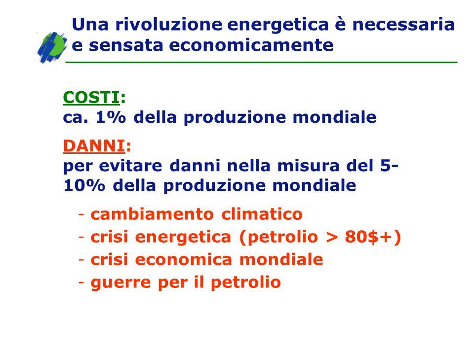 Una rivoluzione energetica è necessaria e sensata economicamente COSTI: ca. 1% della produzione mondiale DANNI: per evitare danni nella misura del 5-