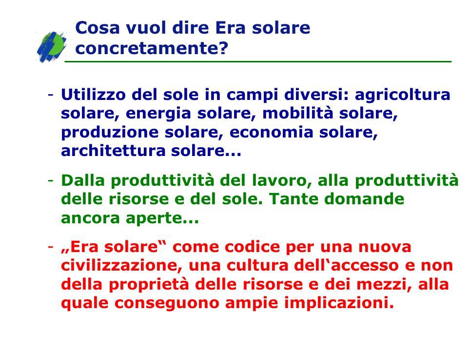 Cosa vuol dire Era solare concretamente? -Utilizzo del sole in campi diversi: agricoltura solare, energia solare, mobilità solare, produzione solare,