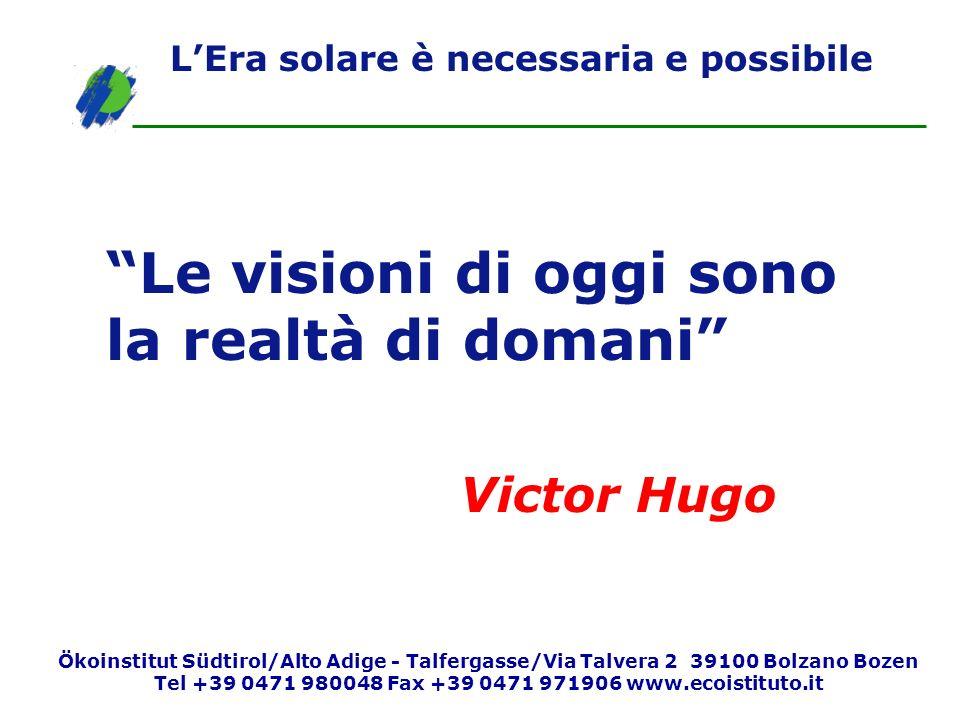 Le visioni di oggi sono la realtà di domani Victor Hugo LEra solare è necessaria e possibile Ökoinstitut Südtirol/Alto Adige - Talfergasse/Via Talvera