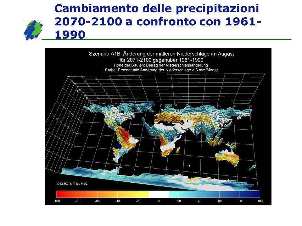 Cambiamento delle precipitazioni 2070-2100 a confronto con 1961- 1990
