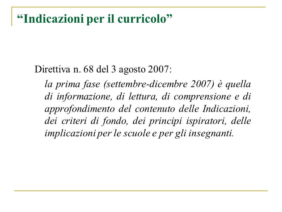 Indicazioni per il curricolo Direttiva n. 68 del 3 agosto 2007: la prima fase (settembre-dicembre 2007) è quella di informazione, di lettura, di compr