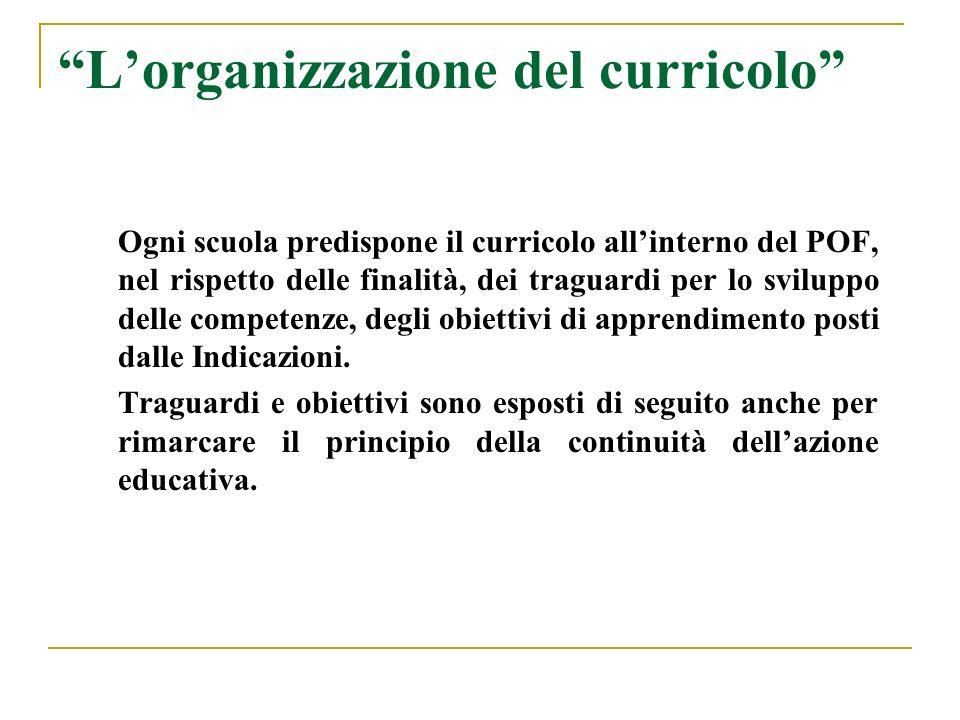 Lorganizzazione del curricolo Ogni scuola predispone il curricolo allinterno del POF, nel rispetto delle finalità, dei traguardi per lo sviluppo delle competenze, degli obiettivi di apprendimento posti dalle Indicazioni.
