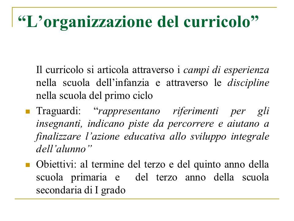 Lorganizzazione del curricolo Il curricolo si articola attraverso i campi di esperienza nella scuola dellinfanzia e attraverso le discipline nella scu
