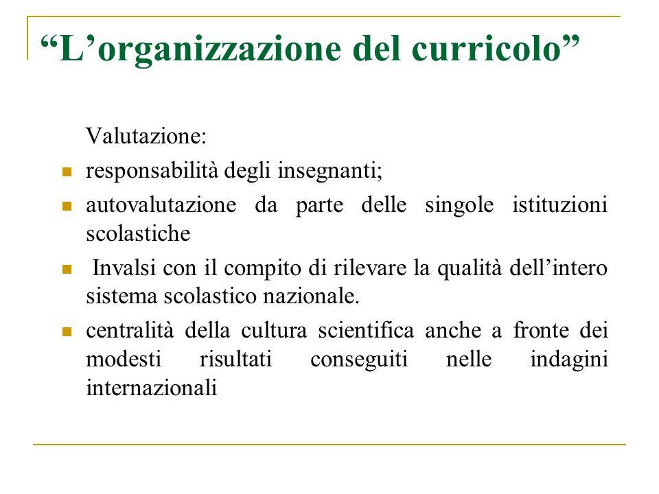 Lorganizzazione del curricolo Valutazione: responsabilità degli insegnanti; autovalutazione da parte delle singole istituzioni scolastiche Invalsi con il compito di rilevare la qualità dellintero sistema scolastico nazionale.