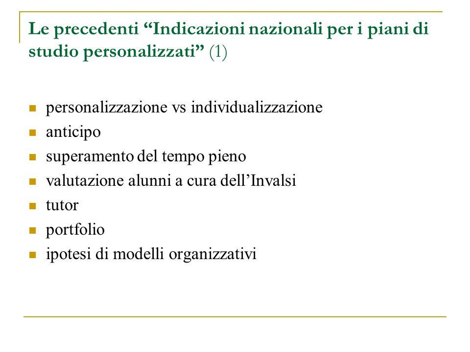 Le precedenti Indicazioni nazionali per i piani di studio personalizzati (1) personalizzazione vs individualizzazione anticipo superamento del tempo p
