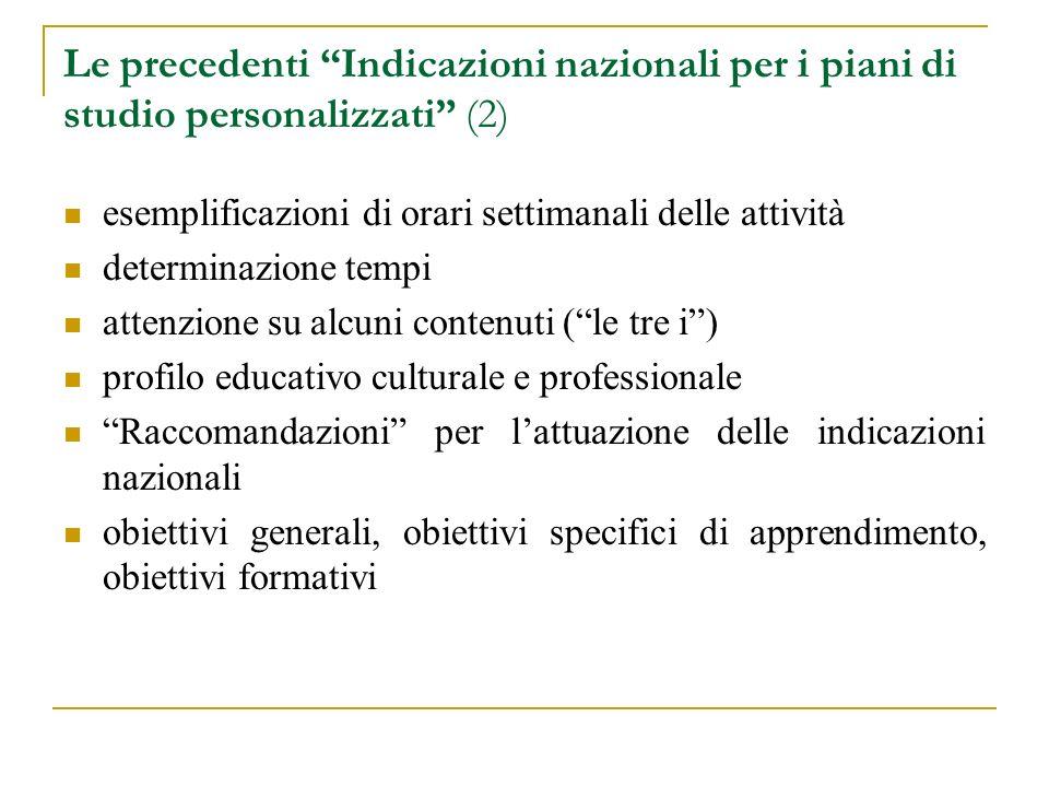 Le precedenti Indicazioni nazionali per i piani di studio personalizzati (2) esemplificazioni di orari settimanali delle attività determinazione tempi