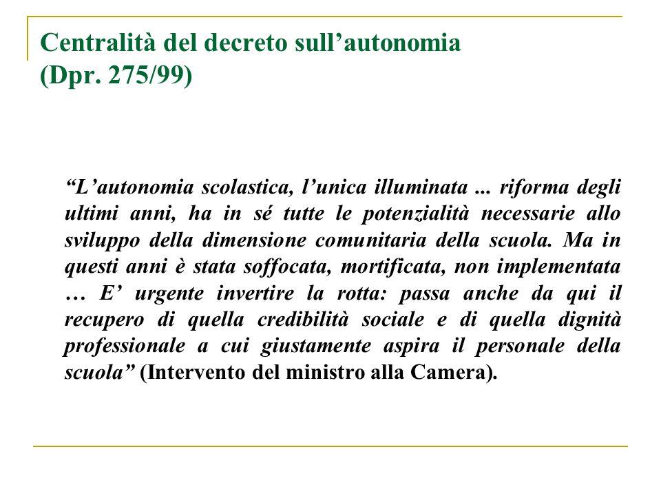 Centralità del decreto sullautonomia (Dpr. 275/99) Lautonomia scolastica, lunica illuminata... riforma degli ultimi anni, ha in sé tutte le potenziali