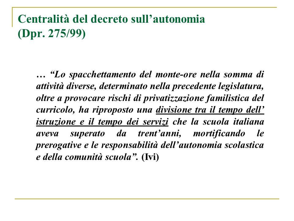 Centralità del decreto sullautonomia (Dpr. 275/99) … Lo spacchettamento del monte-ore nella somma di attività diverse, determinato nella precedente le