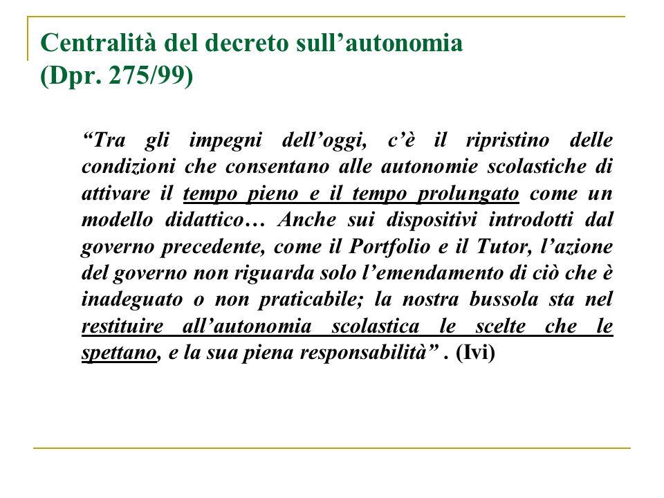 Centralità del decreto sullautonomia (Dpr. 275/99) Tra gli impegni delloggi, cè il ripristino delle condizioni che consentano alle autonomie scolastic