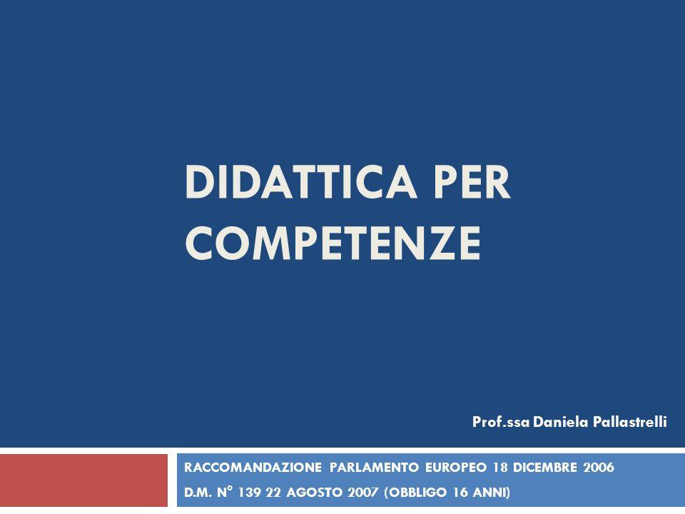 DIDATTICA PER COMPETENZE RACCOMANDAZIONE PARLAMENTO EUROPEO 18 DICEMBRE 2006 D.M. N° 139 22 AGOSTO 2007 (OBBLIGO 16 ANNI) Prof.ssa Daniela Pallastrell
