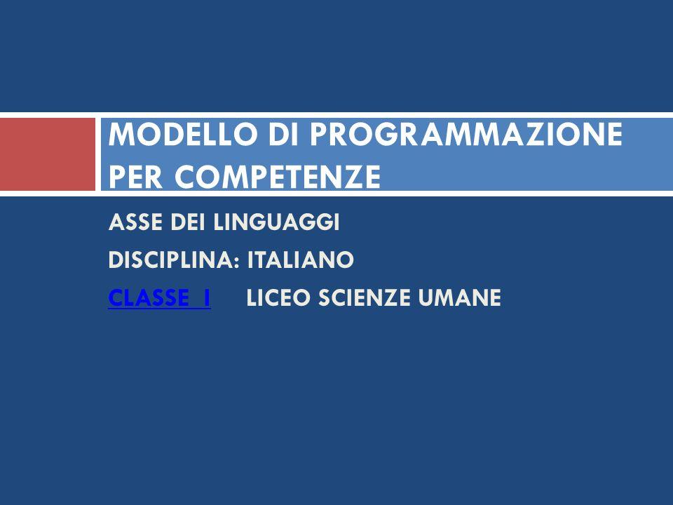 MODELLO DI PROGRAMMAZIONE PER COMPETENZE ASSE DEI LINGUAGGI DISCIPLINA: ITALIANO CLASSE ICLASSE I LICEO SCIENZE UMANE