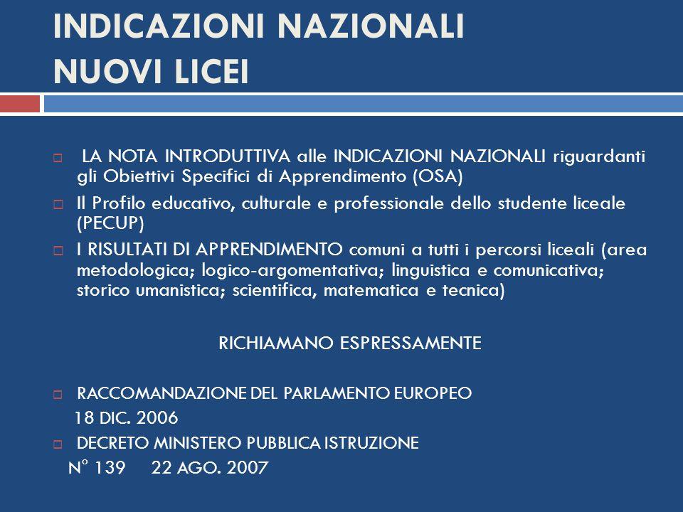 INDICAZIONI NAZIONALI NUOVI LICEI LA NOTA INTRODUTTIVA alle INDICAZIONI NAZIONALI riguardanti gli Obiettivi Specifici di Apprendimento (OSA) Il Profil
