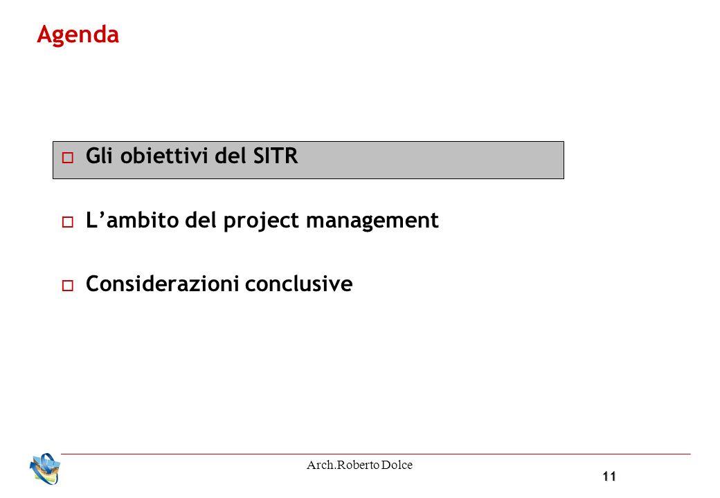 11 Arch.Roberto Dolce Agenda Gli obiettivi del SITR Lambito del project management Considerazioni conclusive