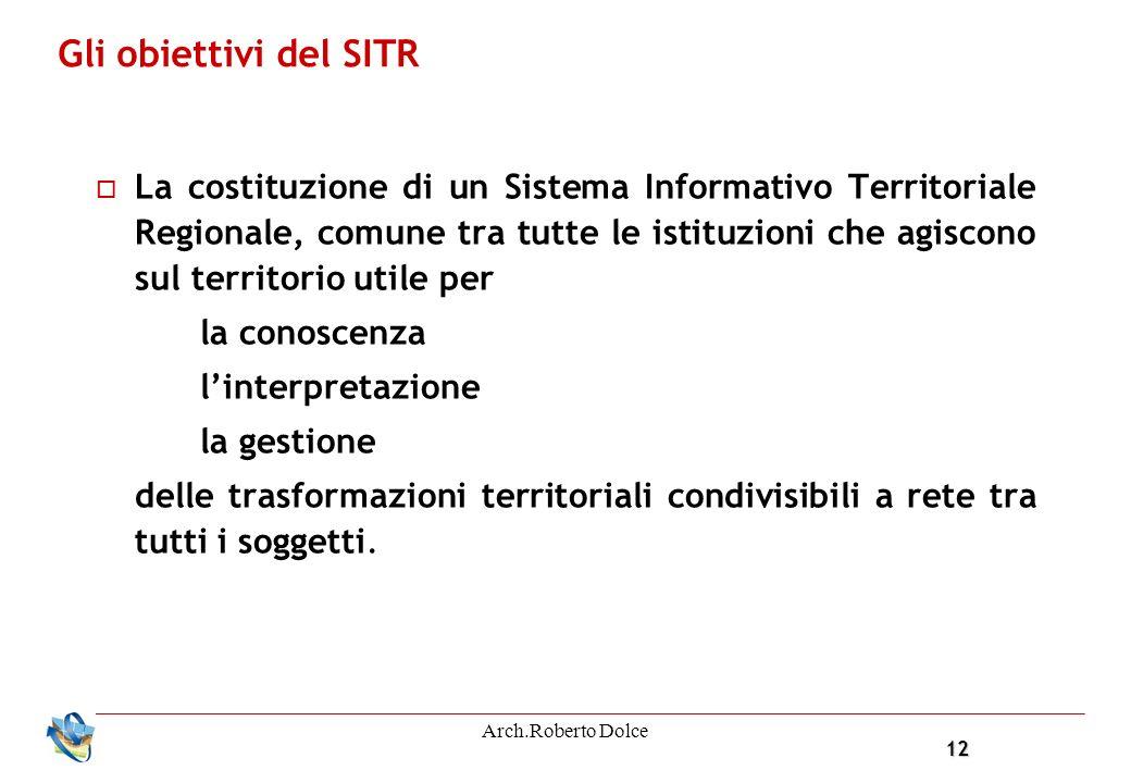12 Arch.Roberto Dolce La costituzione di un Sistema Informativo Territoriale Regionale, comune tra tutte le istituzioni che agiscono sul territorio ut
