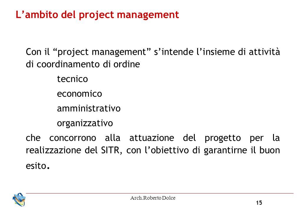 15 Arch.Roberto Dolce Lambito del project management Con il project management sintende linsieme di attività di coordinamento di ordine tecnico economico amministrativo organizzativo che concorrono alla attuazione del progetto per la realizzazione del SITR, con lobiettivo di garantirne il buon esito.